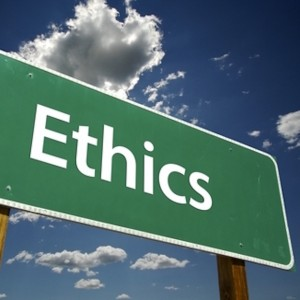 Featured Image. Picture of a street post with the words Ethics written on it.