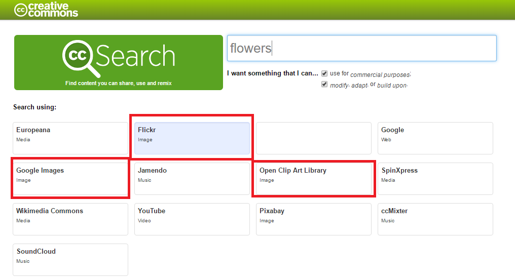 Picture showing how and where to search for images using creative commons.